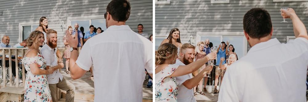 Wedding toast at backyard celebration. Photographed by Nicole Leanne Photography.