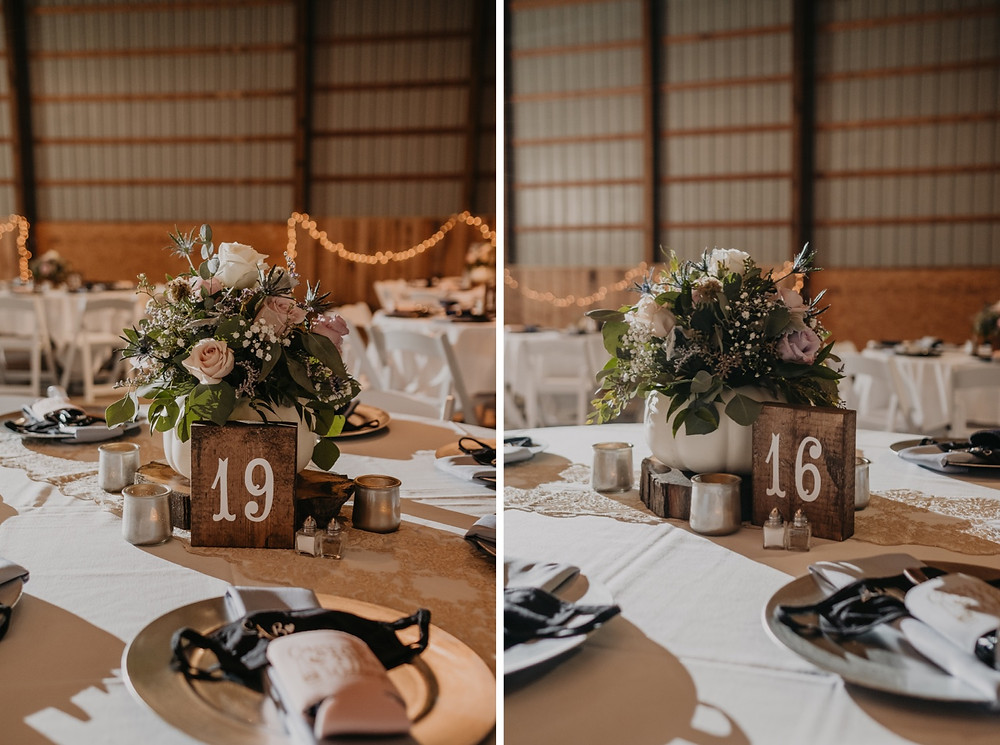 Barn wedding in Michigan with table numbers and place settings
