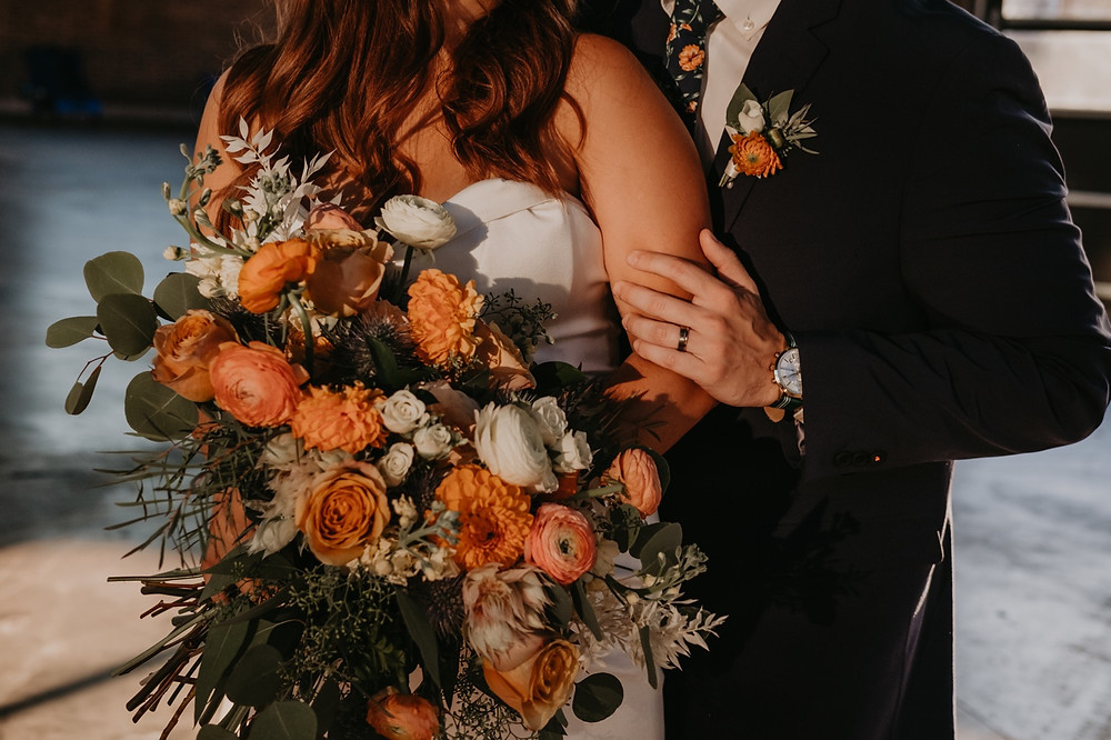 Close up of Eastern Market Detroit wedding flowers created by Copper + Sage Collective. Photographed by Nicole Leanne Photography.