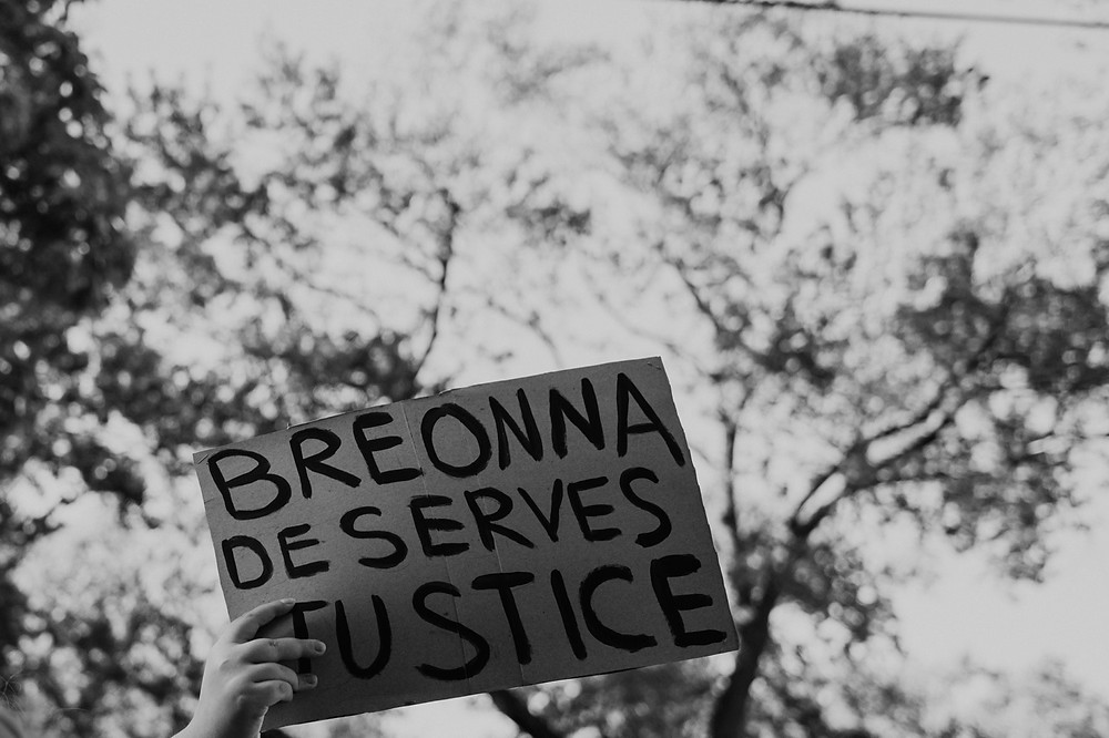 Breonna Taylor protest sign for racial justice in Berkley Michigan protest
