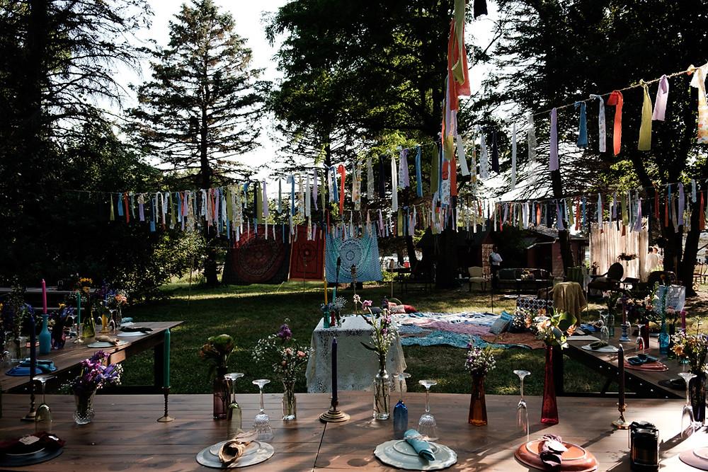 backyard wedding in michigan, bohemian