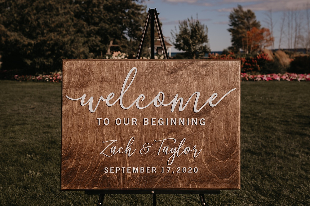 Welcome to our wedding sign. Photographed by Nicole Leanne Photography.