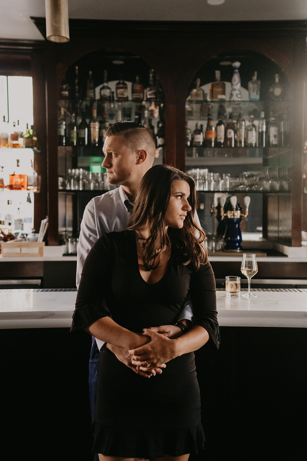 Engagement session with couple at The Monarch Club in Detroit. Photographed by Nicole Leanne Photography.