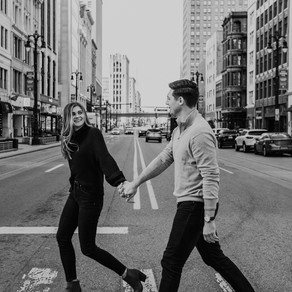 MICHAELA + TODD | DOWNTOWN DETROIT ENGAGEMENT SESSION | METRO DETROIT WEDDING PHOTOGRAPHER