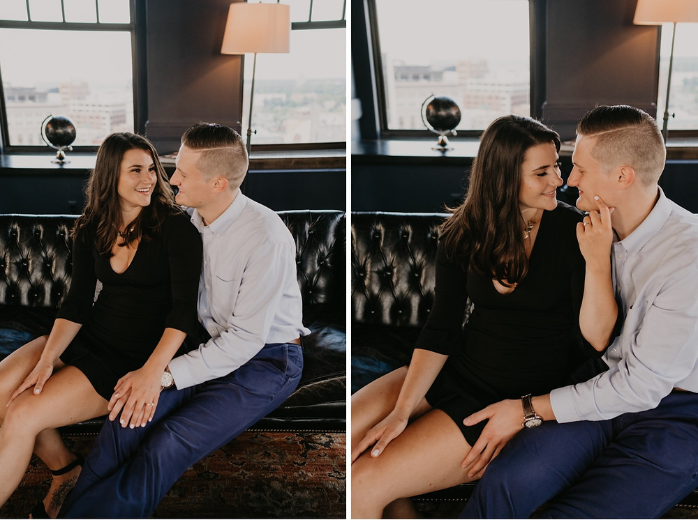 Engagement session at The Monarch Club Detroit.