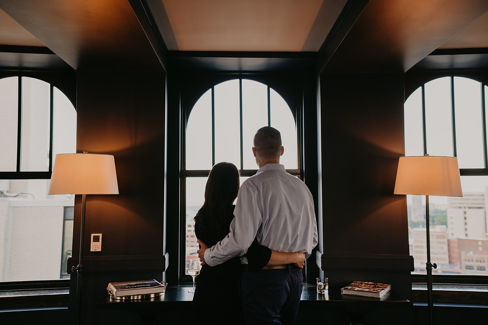 The Monarch Club Detroit lifestyle engagement session photos. Photographed by Nicole Leanne Photography.