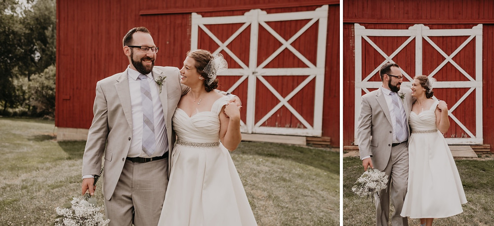 Red barn wedding photos in Metro Detroit. Photographed by Nicole Leanne Photography.