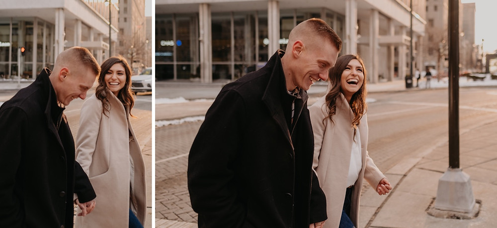 Couple laughing in Downtown Detroit. Photographed by Nicole Leanne Photography.