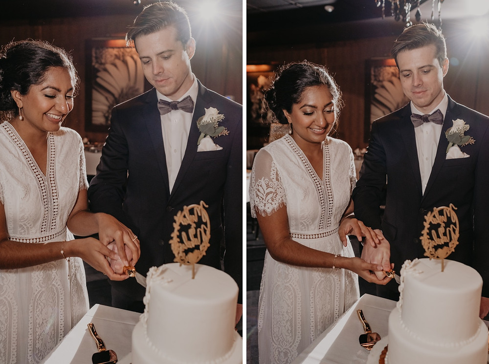 Couple cutting wedding cake on wedding day. Photographed by Nicole Leanne Photography.