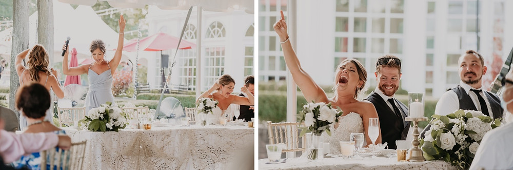 Wedding toast at reception. Photographed by Nicole Leanne Photography.