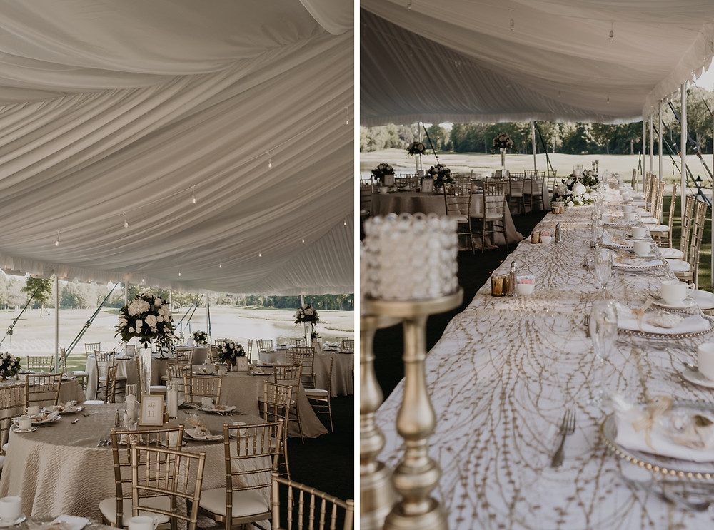 Outdoor wedding reception setup and styling in Metro Detroit. Photographed by Nicole Leanne Photography.
