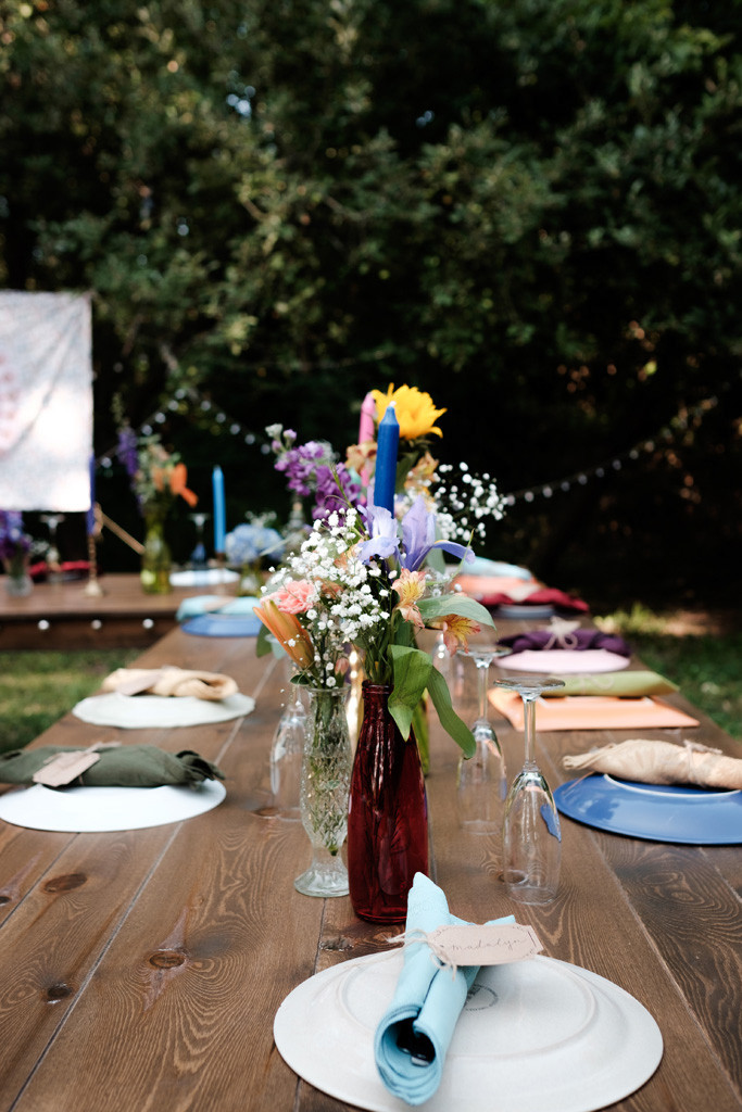 table arrangements, bohemian wedding