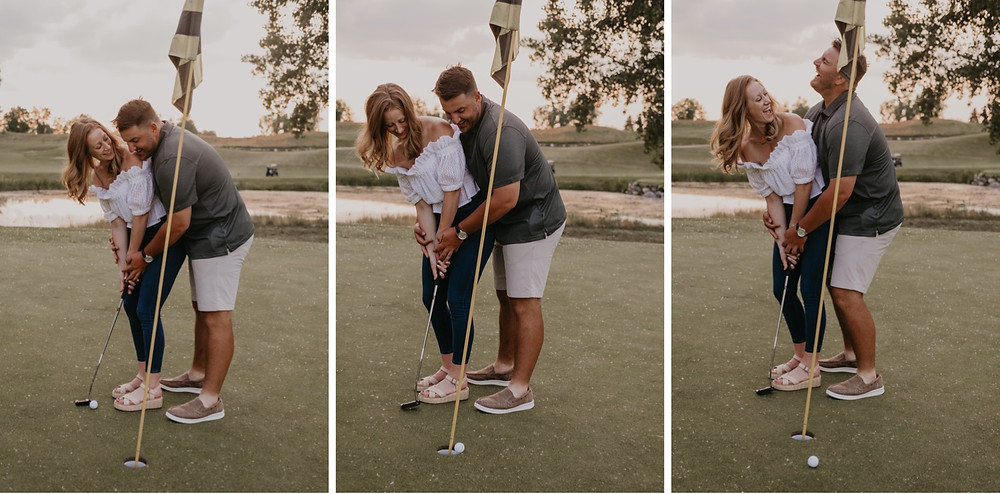 Couple playing golf at Boulder Pointe Golf Course in Metro Detroit. Photographed by Nicole Leanne Photography
