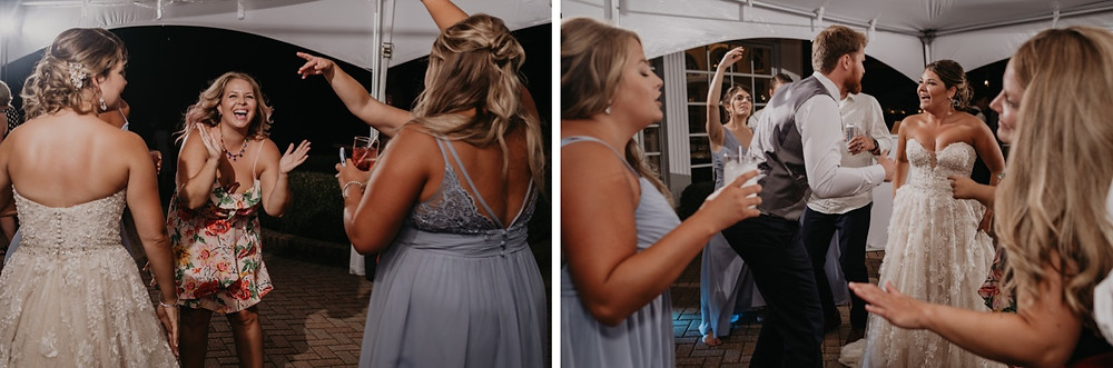 Wedding reception dancing at outdoor wedding. Photographed by Nicole Leanne Photography.