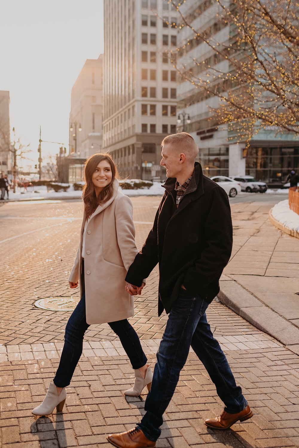 Winter in Detroit engagement session. Photographed by Nicole Leanne Photography.