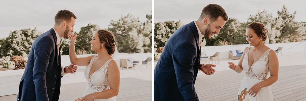 Sharing cake as husband and wife. Photographed by Nicole Leanne Photography.