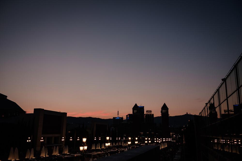 barcelona sunset, near The Magic Fountain, Barcelona