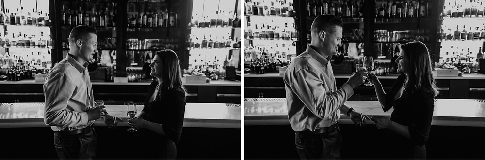 Couple having drink at bar of The Monarch Club in Detroit. Photographed by Nicole Leanne Photography.