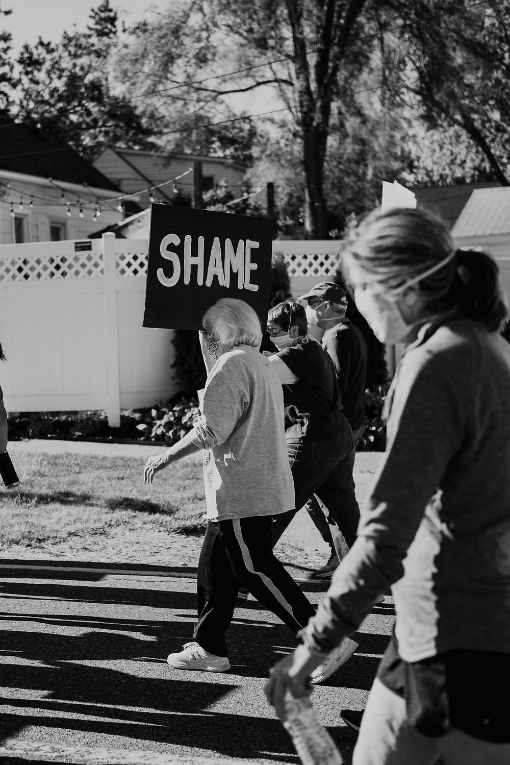 Protestors walk during Black Lives Matter protest