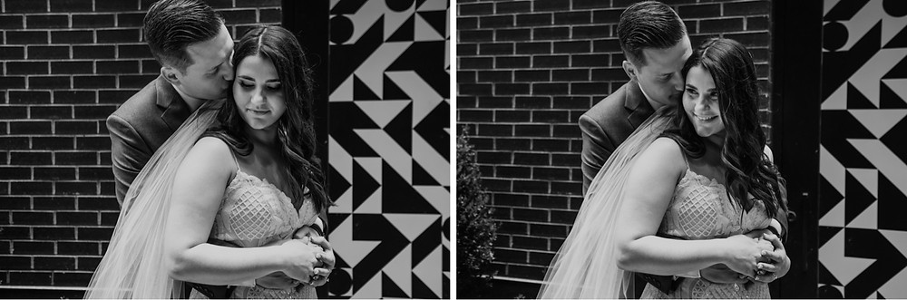 Black and white wedding photos with Detroit murals. Photographed by Nicole Leanne Photography.