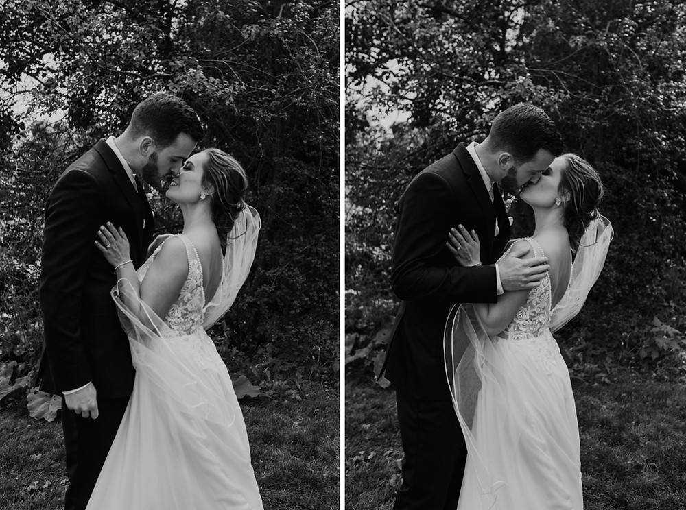 Black and white of bride and groom at Mission Point Resort in Mackinac. Photographed by Nicole Leanne Photography.