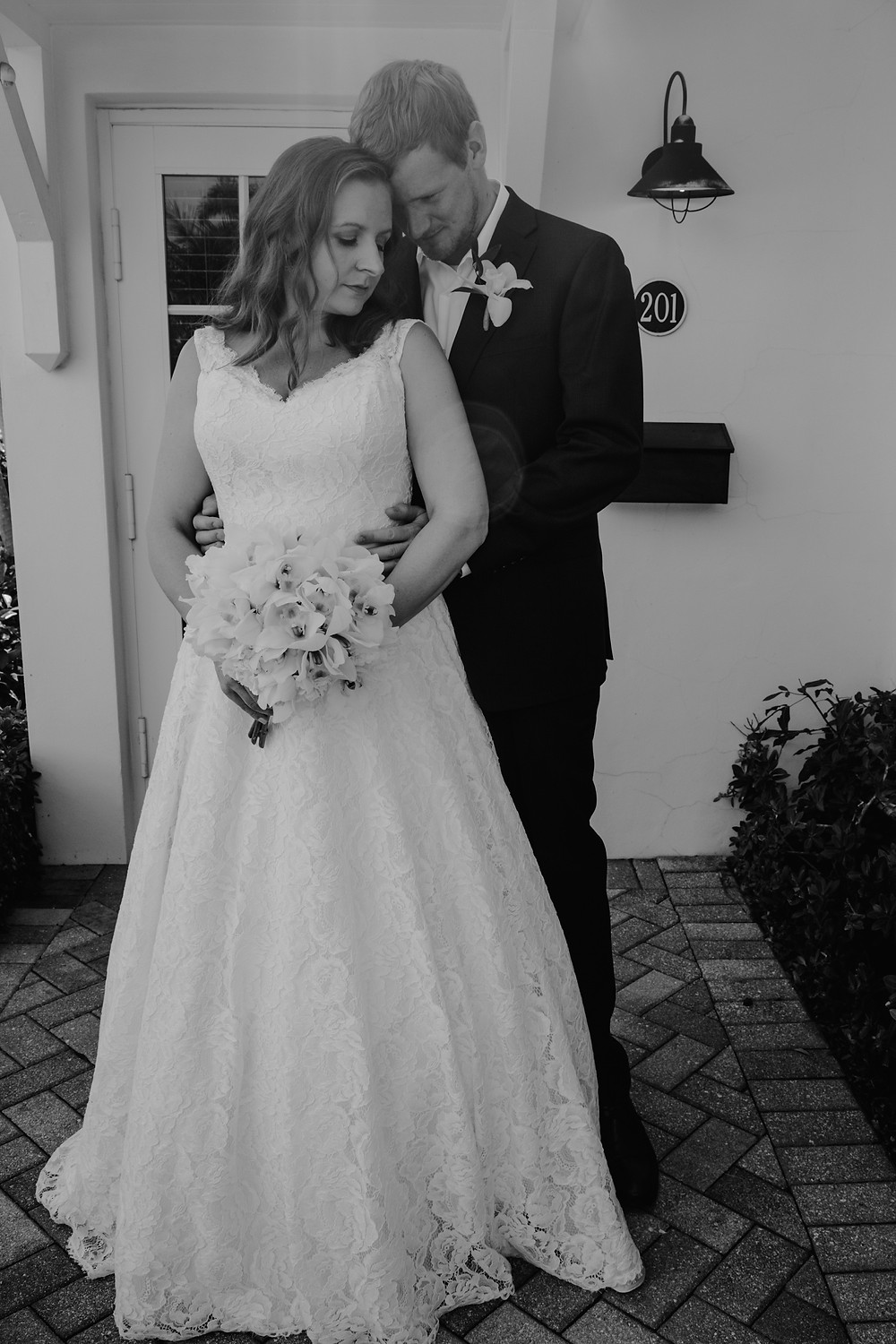 Pandemic wedding with bride and groom at home