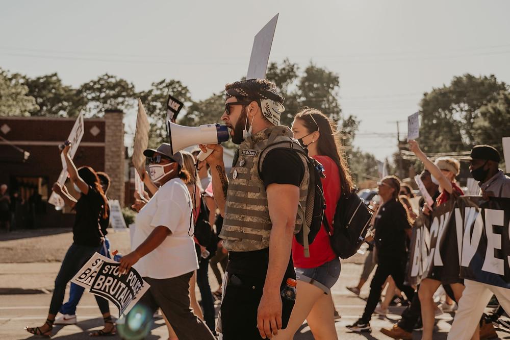 Protesters in street protest for black lives matter in berkley michigan