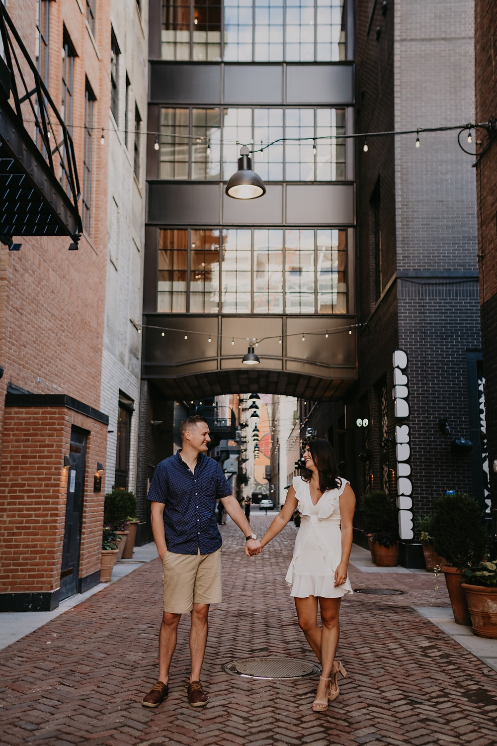 The Shinola Hotel Parkers Alley in Detroit engagement session. Photography by Nicole Leanne Photography