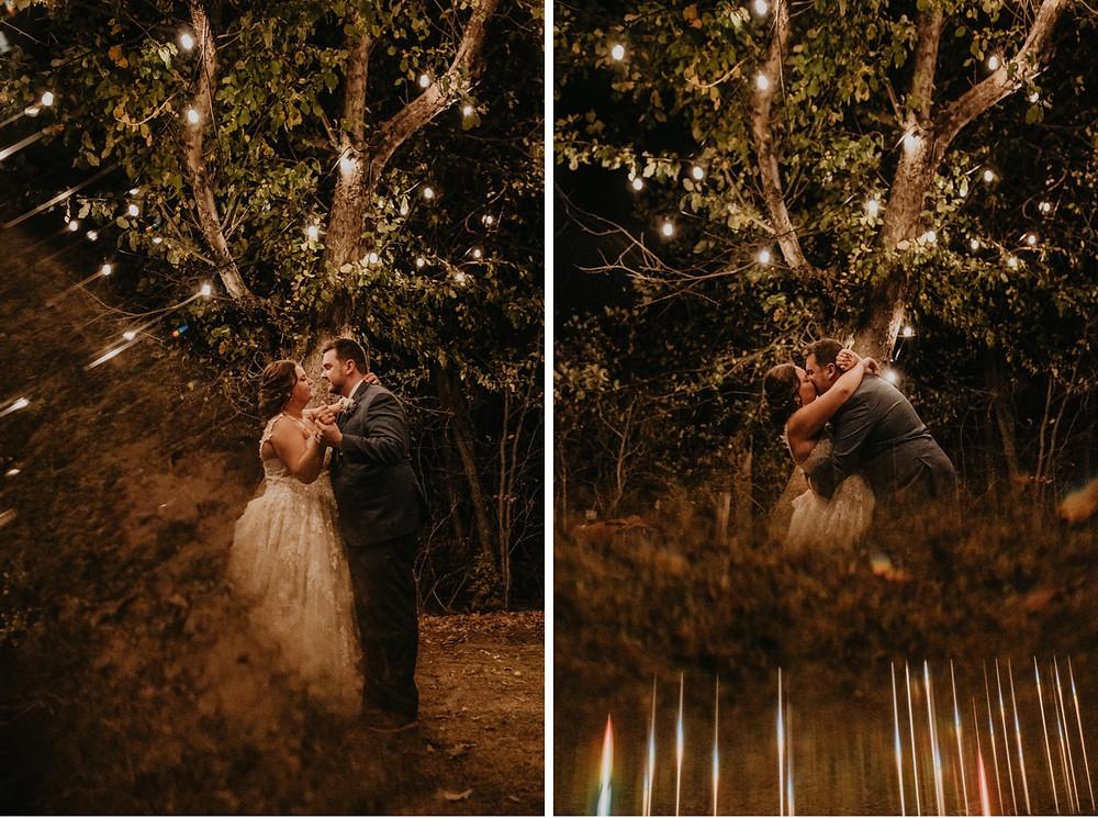 Metro Detroit Bride and Groom dance under lit trees at night