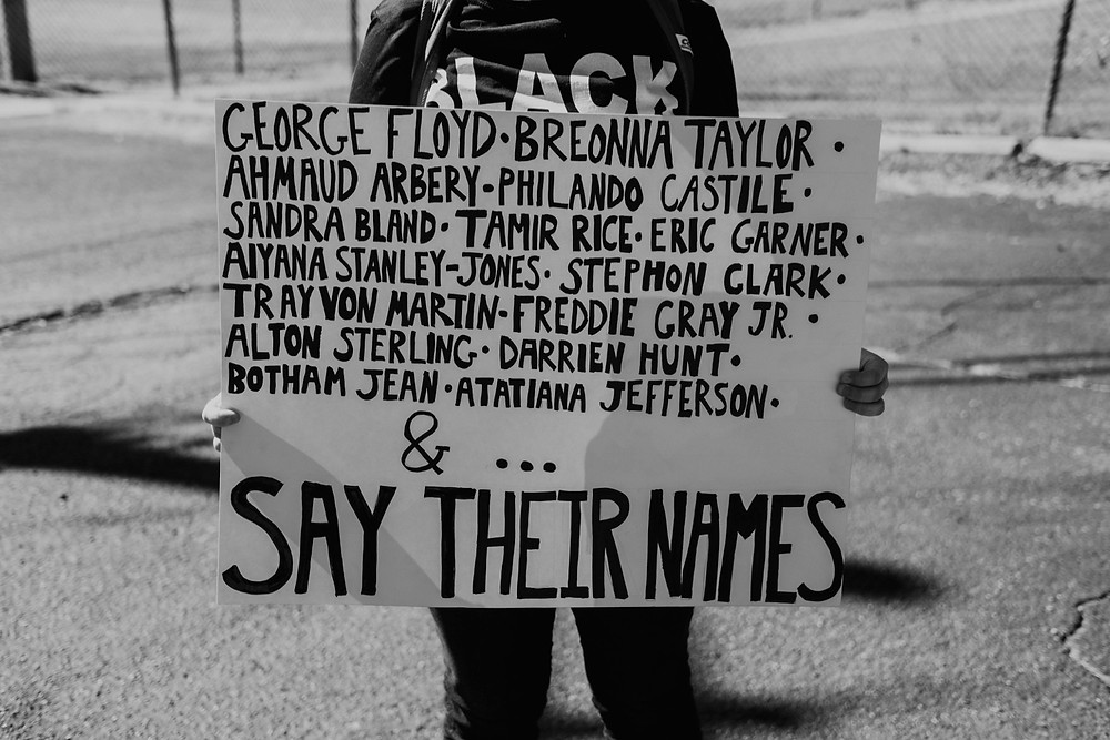 Berkley Michigan BLM movement protest with signs in support of justice for George Floyd
