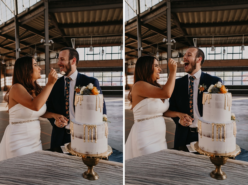 Bride and groom sharing A-Mazion Cakes at Eastern Market Detroit. Photographed by Nicole Leanne Photography.