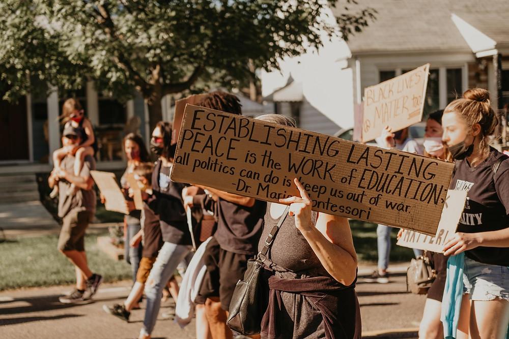 Protestors in Berkley Michigan during 2020 peaceful protest