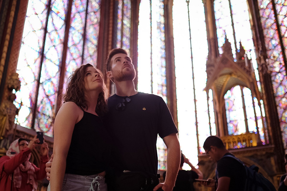admiring the stain glass, Sainte Chapelle
