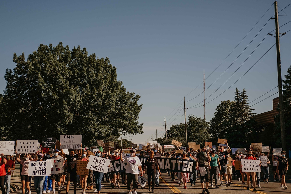 Streets filled in Berkley Michigan for peaceful protest in 2020 Black Lives Matter movement
