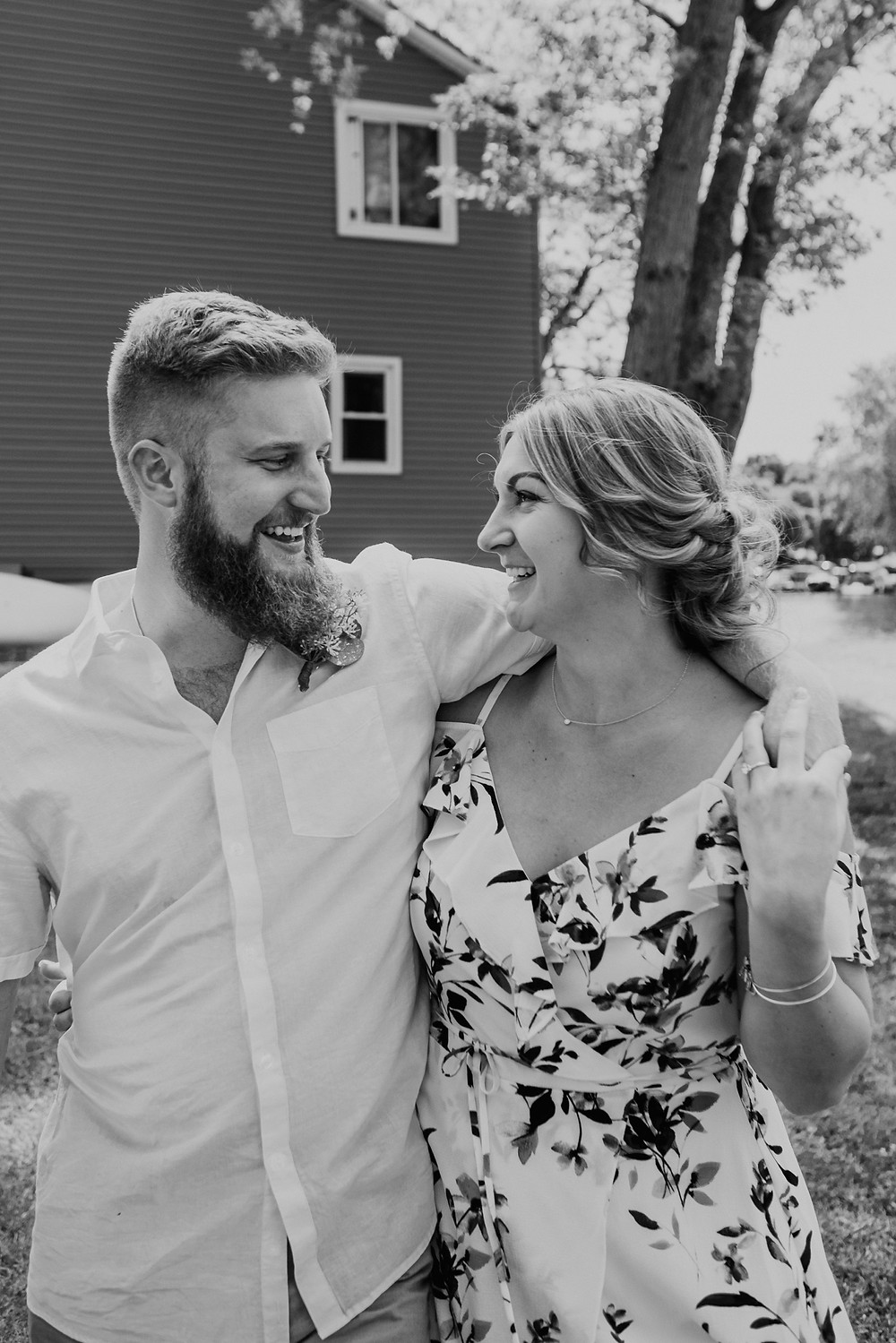 Black and white Metro Detroit wedding photos in backyard. Photographed by Nicole Leanne Photography.