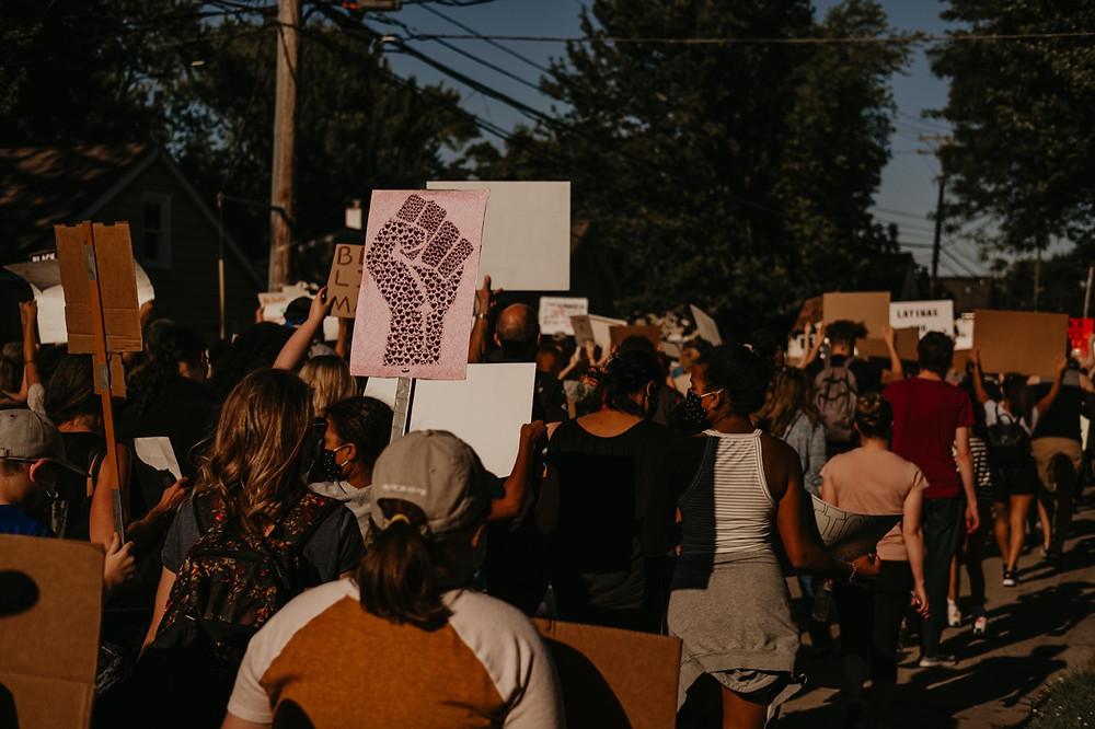 Crowd in protest for racial violence victims in Berkley Michigan