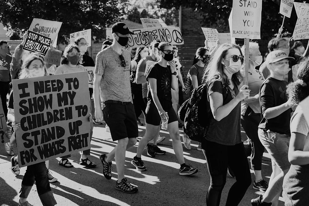 Police brutality protest for black lives matter movement in Berkley Michigan