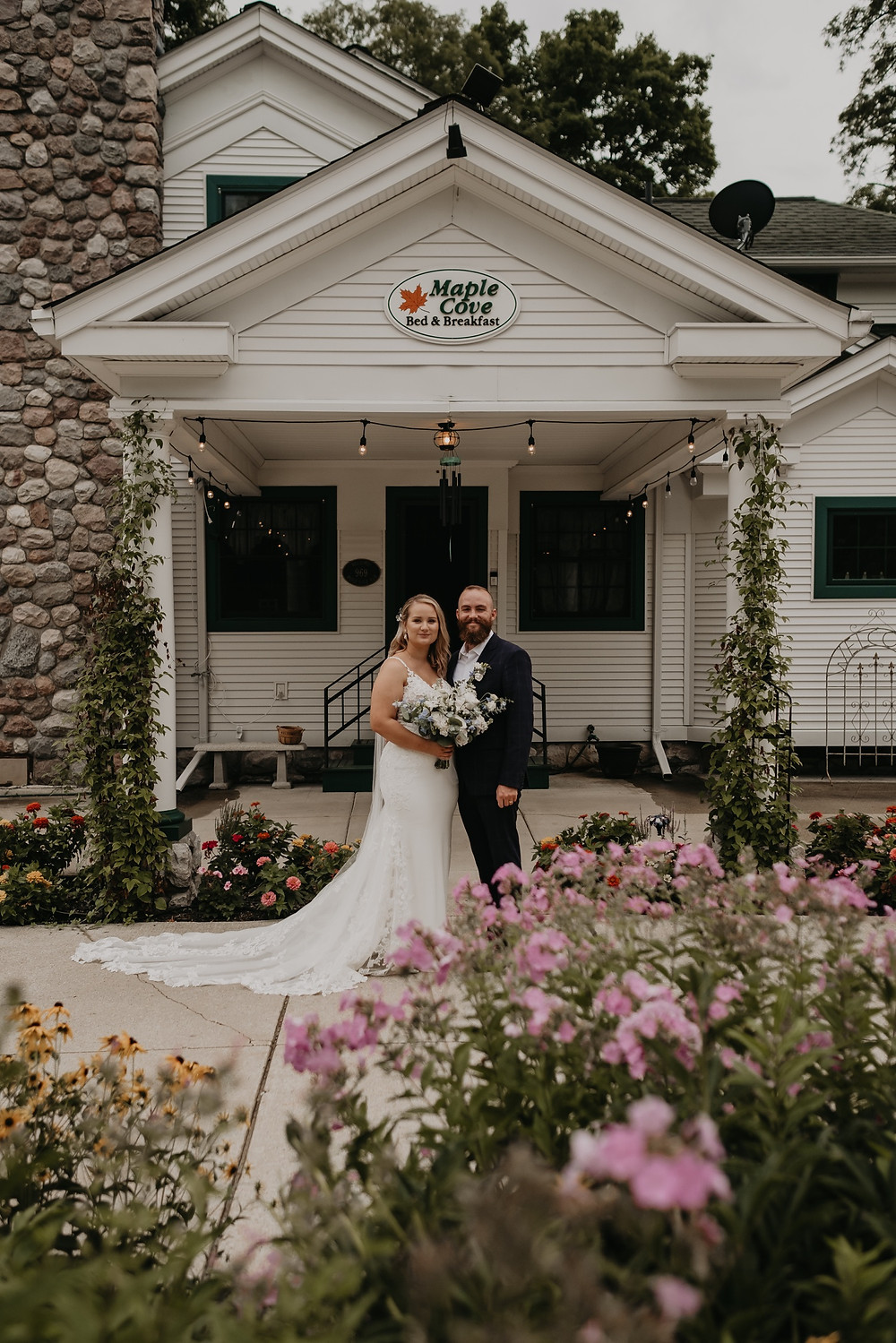 Maple Cove Bed and Breakfast with bride and groom. Photographed by Nicole Leanne Photography.