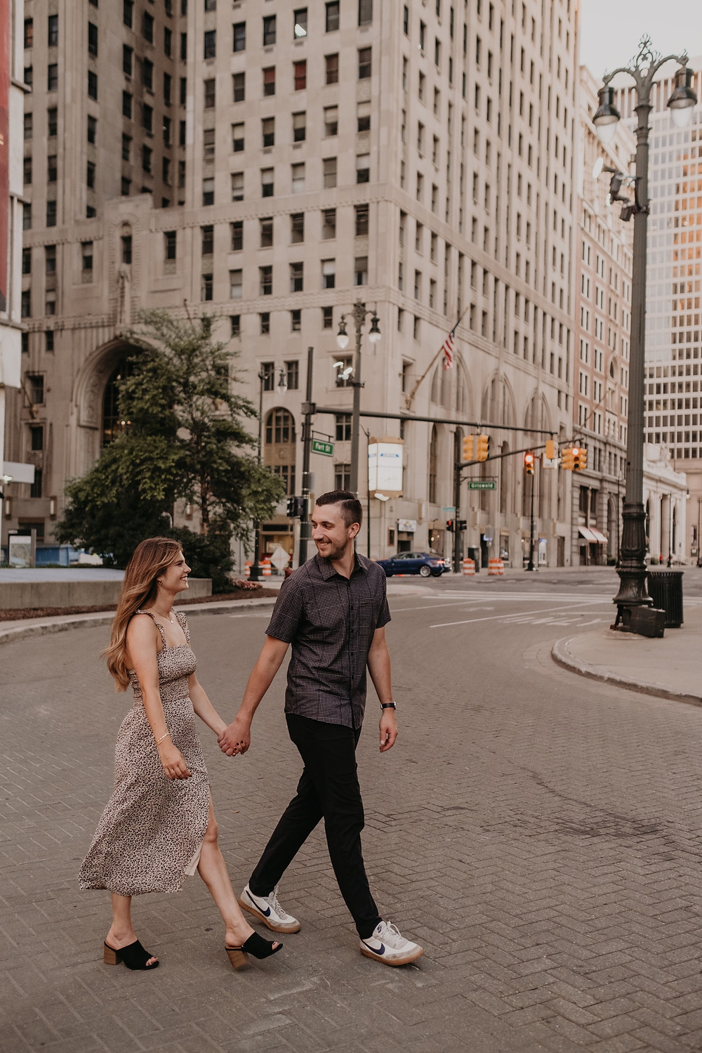 Detroit Downtown city engagement photos. Photographed by Nicole Leanne Photography.
