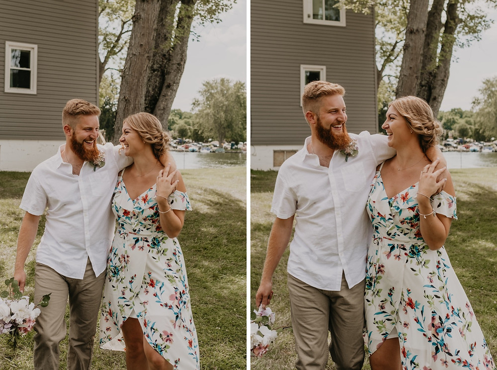 Bride and groom after backyard wedding celebration. Photographed by Nicole Leanne Photography.