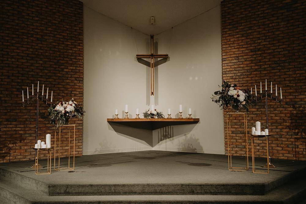 Trinity Presbyterian Church alter. Photographed by Nicole Leanne Photography.