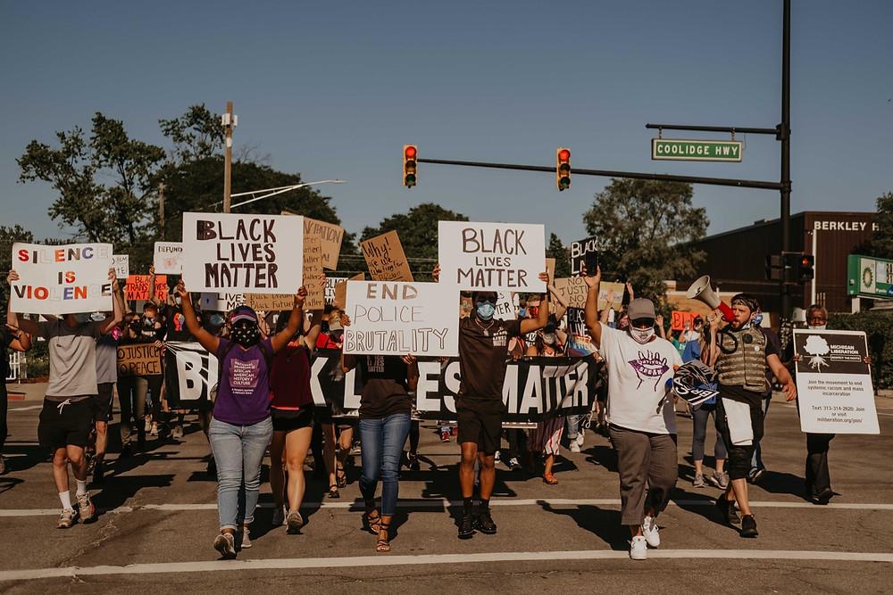 Black lives matter protesters in Berkley Michigan