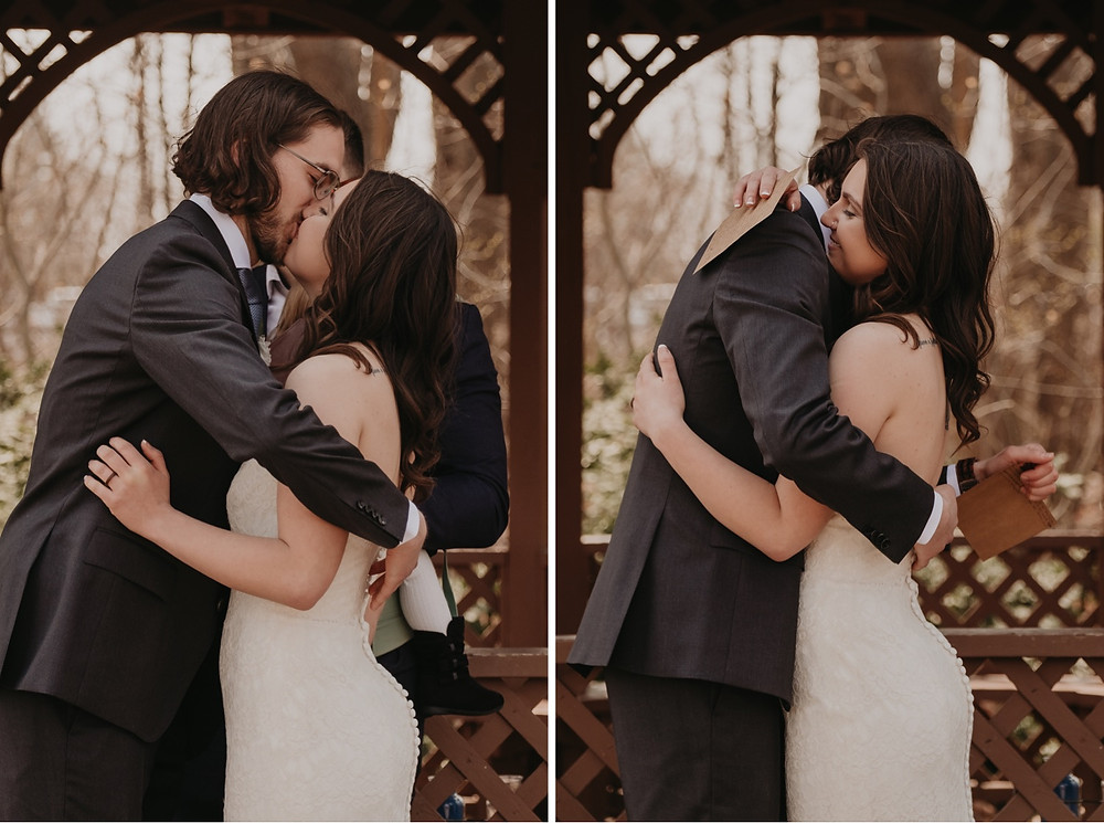 Bride and groom kiss after vows at park wedding. Photographed by Nicole Leanne Photography.