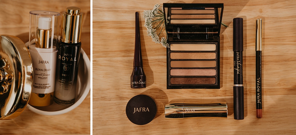 Jafra cosmetics displayed for promotional branding session for representative Corrina Joan at home. Photographed by Nicole Leanne Photography
