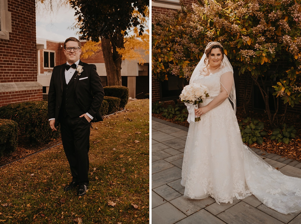 Bride and groom portraits at Trinity Lutheran Church. Photographed by Nicole Leanne Photography.