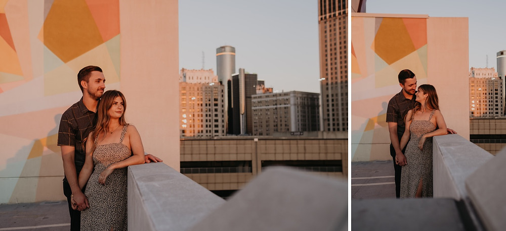 Sunset engagement session in Downtown Detroit. Photography by Nicole Leanne Photography