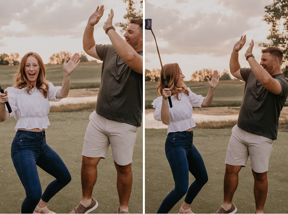 Golf course engagement photos at Metro Detroit golf course. Photographed by Nicole Leanne Photography