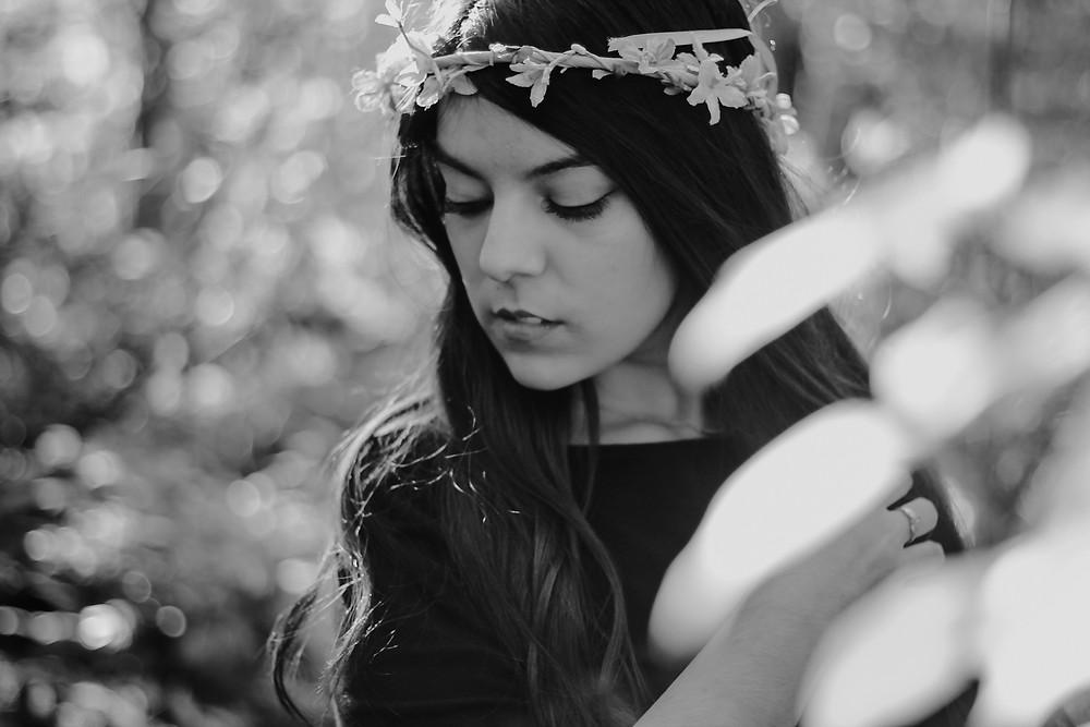 boho flower crown, black and white