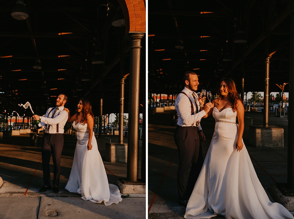 Eastern Market in Detroit champagne toast with bride and groom. Photographed by Nicole Leanne Photography.