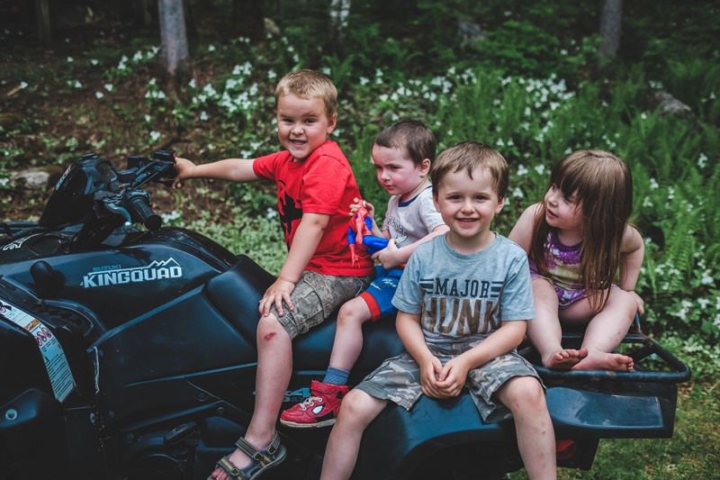 Kids on four wheeler